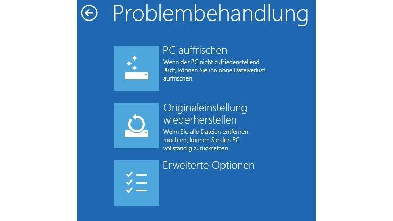 Simpel: Windows 8 lässt sich über Assistenten wiederherstellen.
