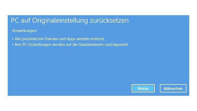 Alles auf Anfang: Die Systemwiederherstellung mit PC-Reset in Windows 8 setzt den PC in den Ursprungszustand zurück.