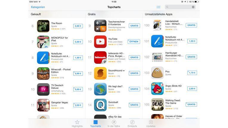 Detailsuche: Gerade einmal ein kleines Plus neben dem Preis markiert die Universal-Apps im Store.