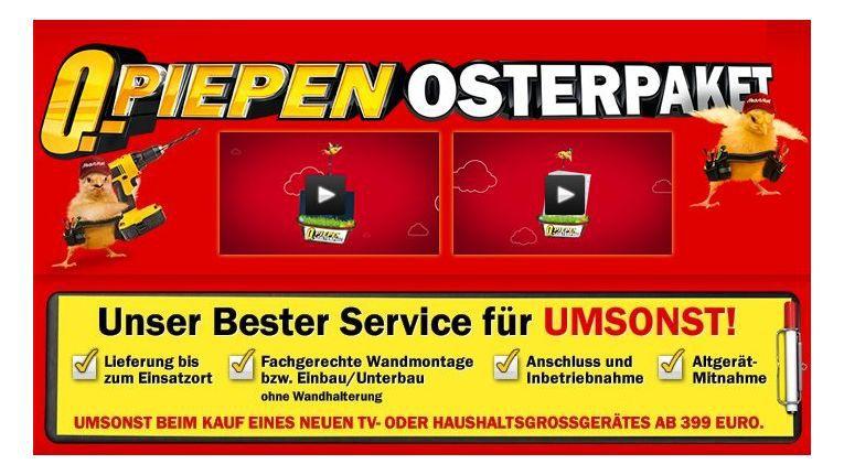 """""""Null Piepen Osterpaket"""": Zum ersten Mal stellt Media Markt das Thema Service in den Mittelpunkt einer Werbekampagne."""