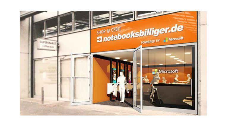 """Notebooksbilligers """"Shop@CeBIT"""" befindet sich an der Rückseite des Microsoft-Stands zwischen den Hallen 4 und 3"""
