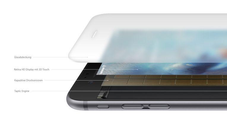Die verschiedenen Schichten des 3D-Touch-Displays von iPhone 6s