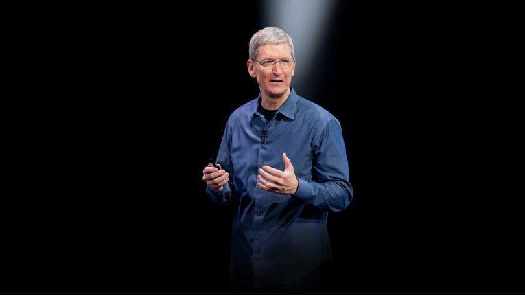 Tim Cook bei der Vorstellung eines neuen Apple-Produktes.