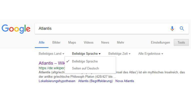 Die Google-Suche können Sie über den Menüpunkt Tools einschränken.