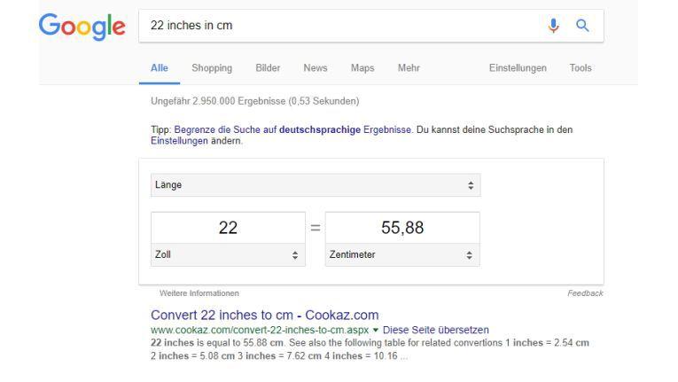 So einfach geht die Umrechnung von Einheiten in Google.