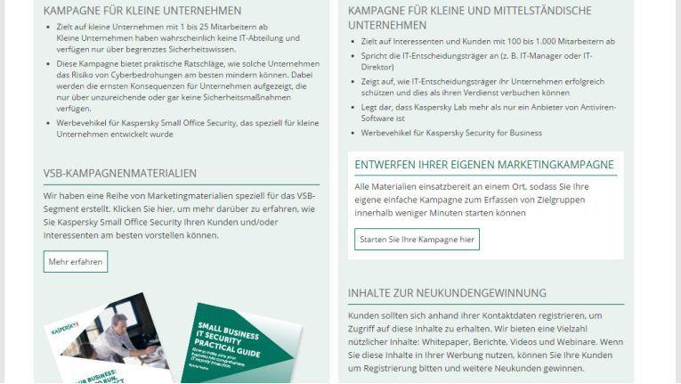 Das neue Partner-Portal von Kaspersky Lab enthält mehr detailliertere Marketing-Unterlagen.