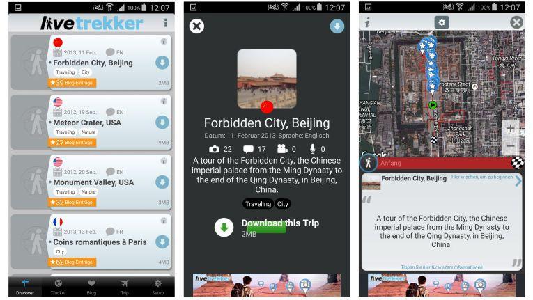 Die App LifeTrekker zeichnet auf Wunsch die Bewegungen des Users auf einer Satellitenbild-Karte ein. Diese kann man dann direkt oder nachträglich mit Bildern, Videos etc bestücken.