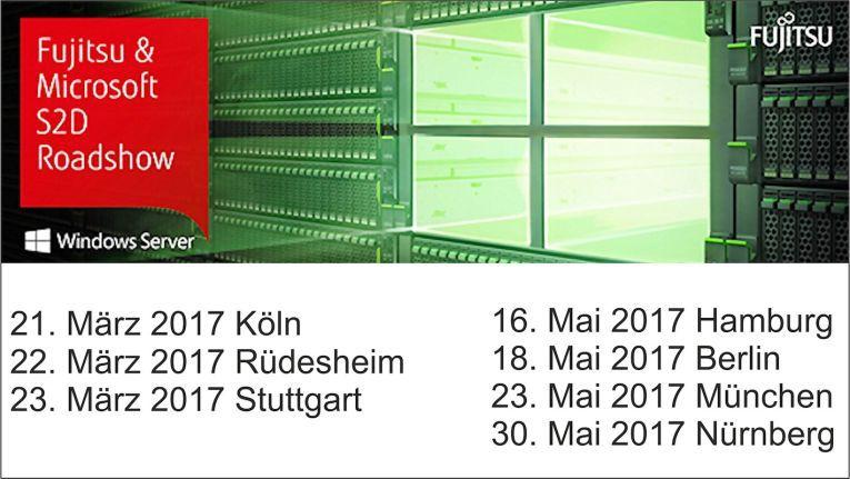 Fujitsu und Microsoft reisen mit der Storage Spaces Direct Roadshow durch ganz Deutschland und machen an obigen sieben Stationen halt.
