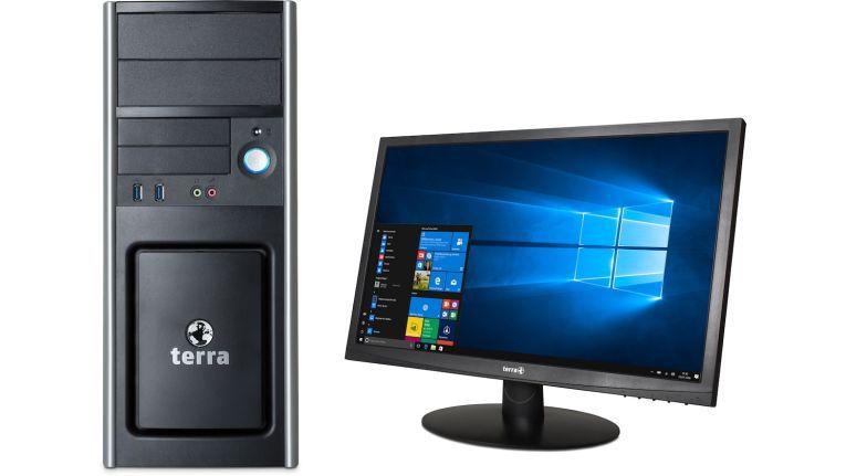 Der Terra PC Business 5060 für 669 Euro UVP inklusive Steuern ist ein richtiges Arbeitstier, verspricht die Wortmann AG. In ihm stecken eine i5 Intel-CPU, vier Gigabyte RAM, eine 240GB SSD, ein DVD-Brenner und Windows 10 Pro. Dazu gibt es den Terra-LCD 2212W gratis obendrauf.
