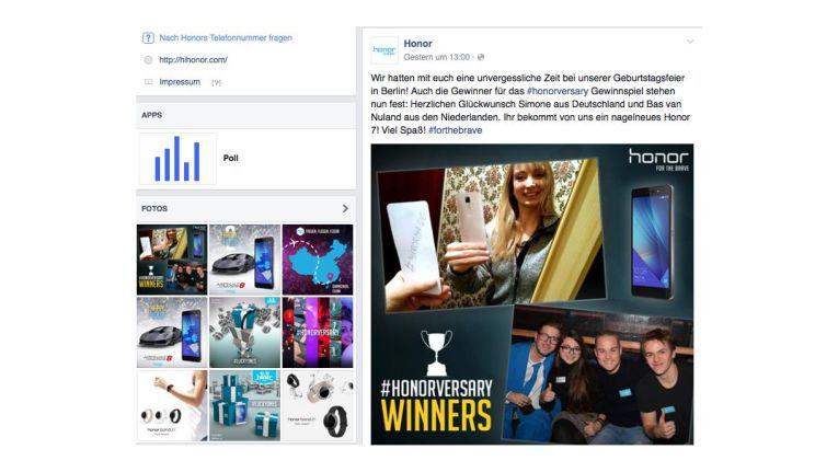 Der Smartphoneanbieter honor lebt auf Social Media das Storytelling zu seinen Produkten wie wenig andere. Quelle: Screenshot Facebook