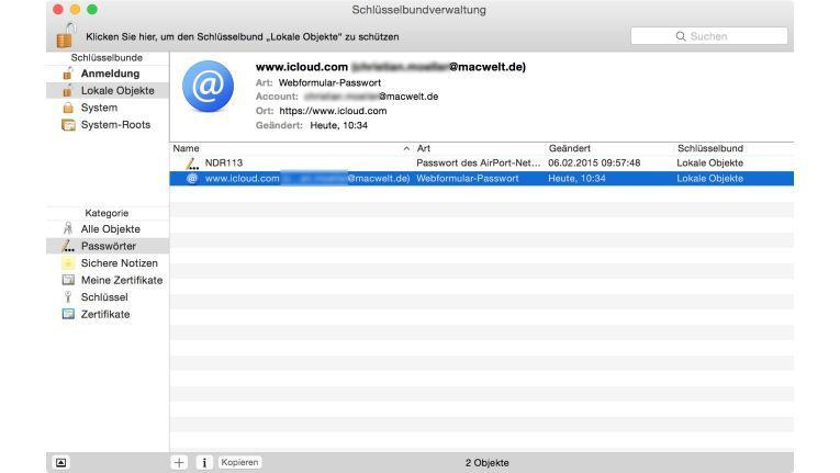 Alle Kennwörter sind unter OS X in einer Datenbank gesichert. Sie erscheinen im Dienstprogramm Schlüsselbundverwaltung in einer Liste.