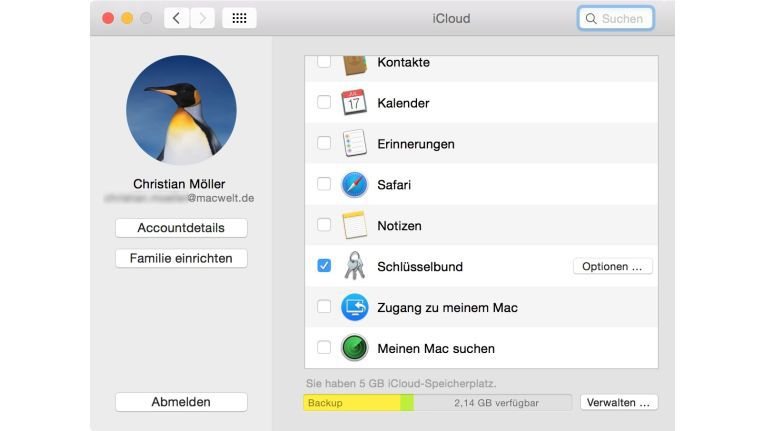 Wer mehr als einen Mac hat, kann den Schlüsselbund auch über iCloud synchronisieren. Sämtliche Passwörter werden (verschlüsselt) in die Cloud hochgeladen und können von anderen Geräten (auch iOS) genutzt werden.